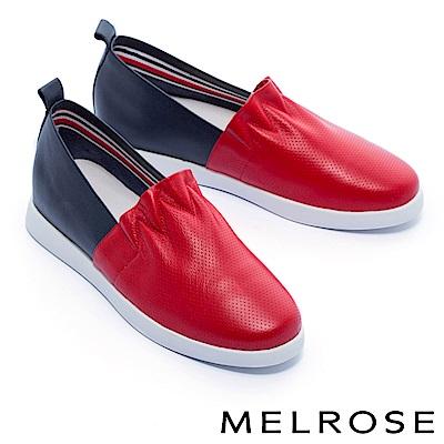 休閒鞋 MELROSE 簡約清新抓皺荷葉邊厚底休閒鞋-紅