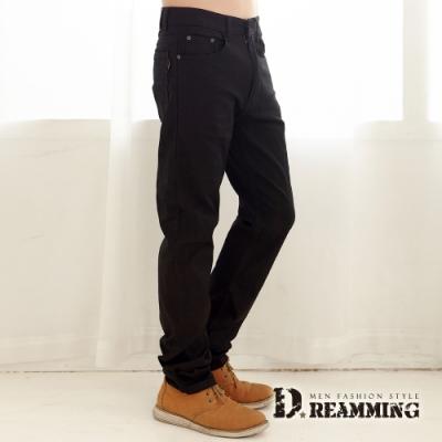 Dreamming 簡約時尚穿搭伸縮修身休閒長褲-黑色