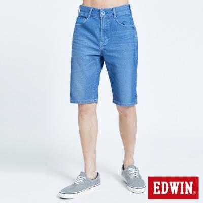 EDWIN JERSEYS 迦績 PK EJ3透氣寬鬆涼感 牛仔短褲-男-拔淺藍