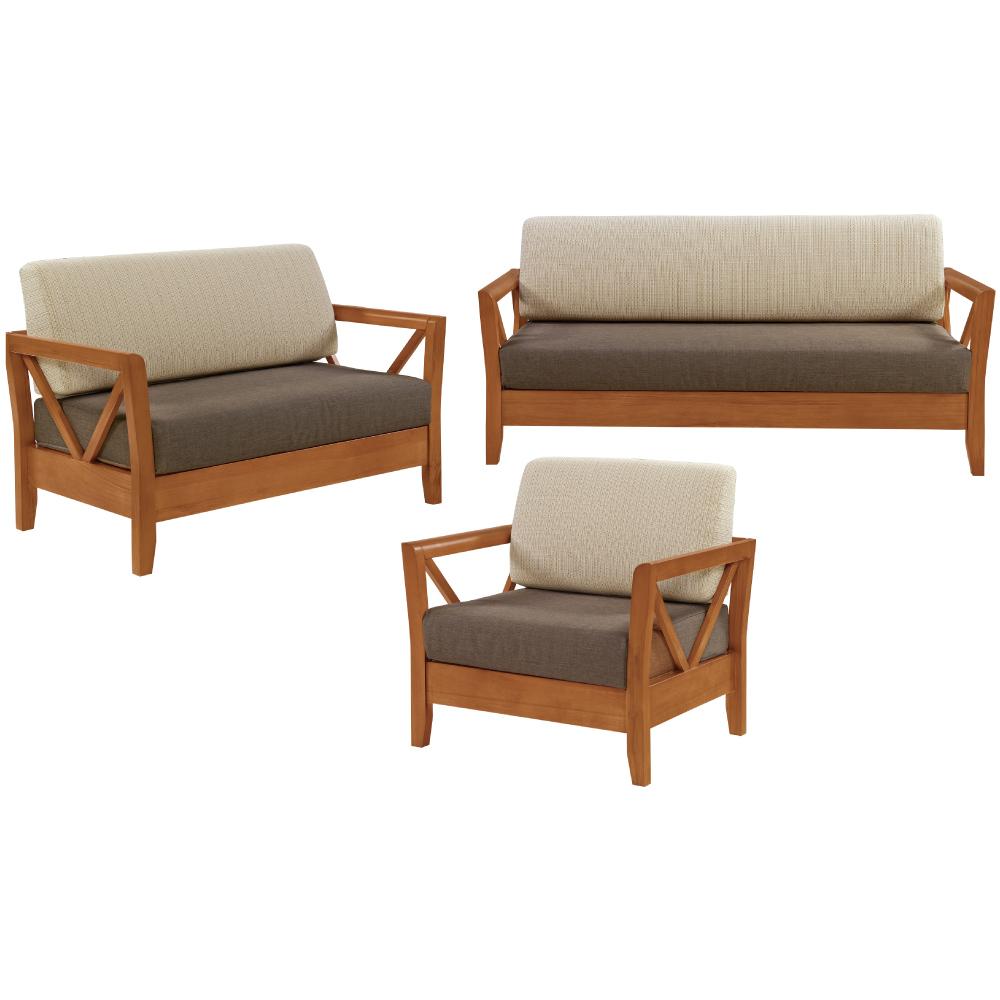 綠活居 尼西現代風亞麻布實木沙發椅組合(1+2+3人座)