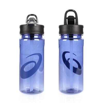 ASICS 運動水壺-600ML-附吸管 水瓶 慢跑 單車 自行車 亞瑟士 藍透明