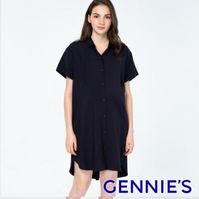 Gennies奇妮-襯衫領率性孕婦洋裝-丈青 (T1J05)
