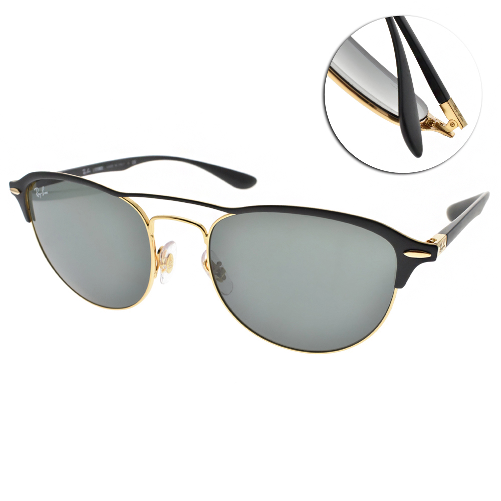 RAY BAN太陽眼鏡 個性百搭眉框/黑金#RB3596 907671