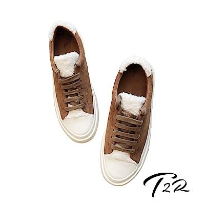 【T2R】韓國空運流行款毛毛異材質拼接帆布鞋-棕
