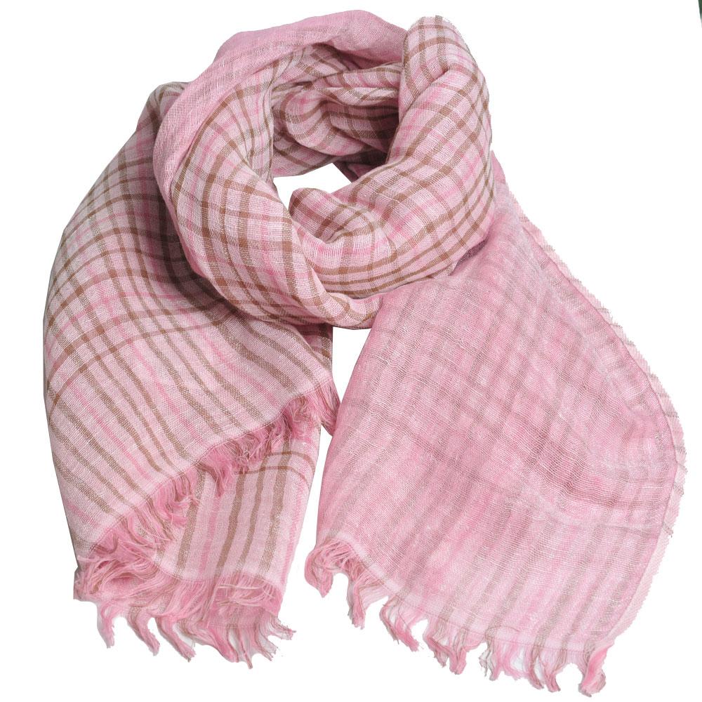 DAKS 日本製經典格紋棉麻混紡圍巾(粉紅格)