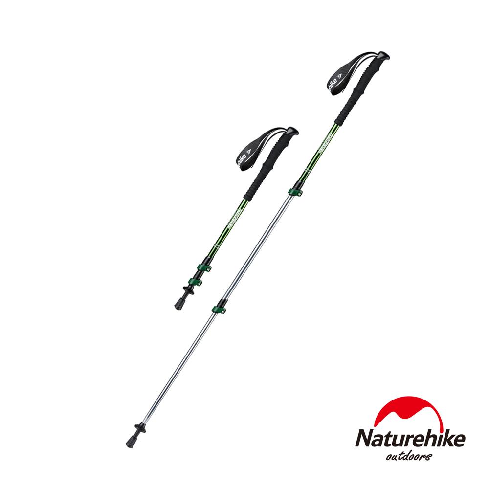 Naturehike 長手把6061鋁合金三節外鎖登山杖 附杖尖保護套 綠色-急