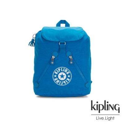 Kipling 復古藍搶眼大LOGO抽繩束口後背包-FUNDAMENTAL NC