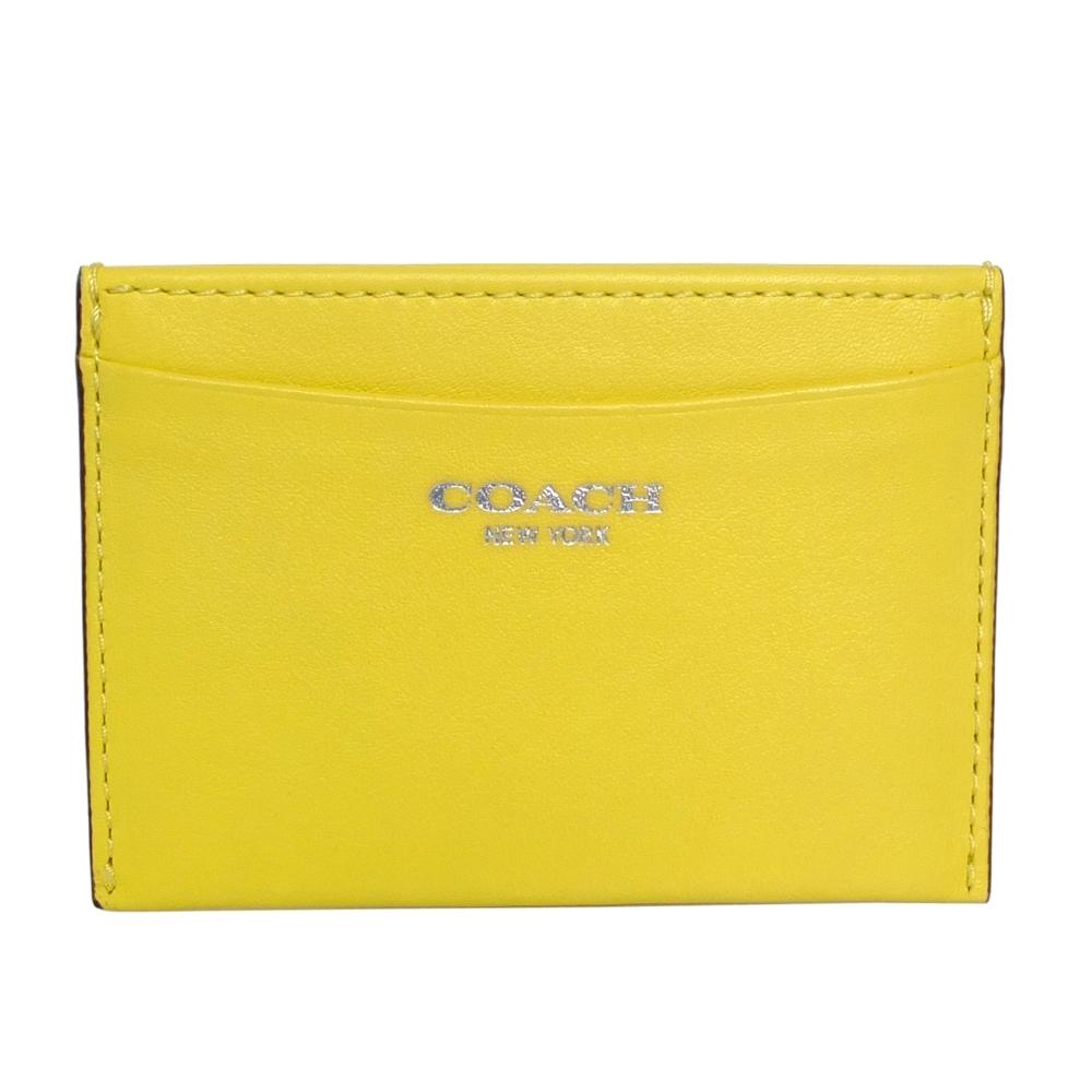 COACH檸檬黃銀字素面全皮一片式雙面票卡夾