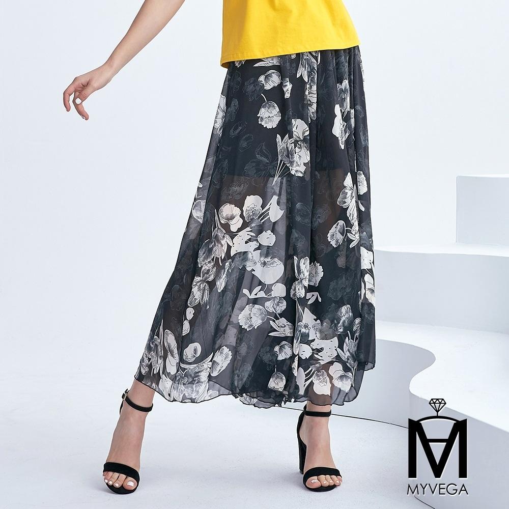 麥雪爾 MA水墨染白花雪紡褲裙-黑