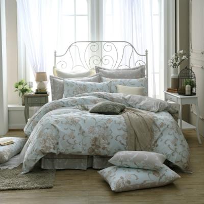 鴻宇 100%精梳棉 克莉斯朵 藍 雙人加大七件式兩用被床罩組
