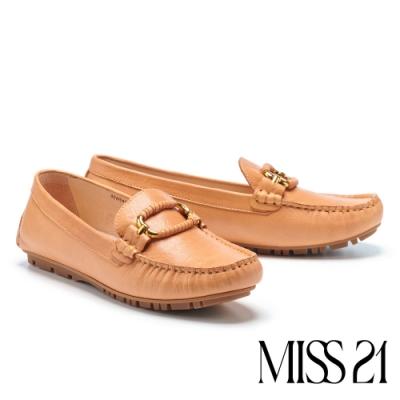 平底鞋 MISS 21 精緻都市品格全真皮方頭樂福平底鞋-棕