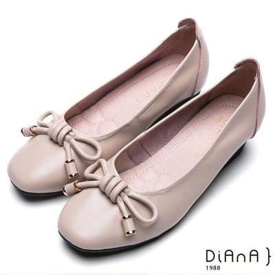 DIANA 百搭原色--繩索蝴蝶結真皮坡跟娃娃鞋-米