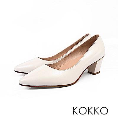 KOKKO - 都會時尚尖頭羊皮粗高跟鞋-方糖白