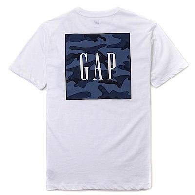 GAP 經典LOGO標誌迷彩印刷短袖T恤-白色