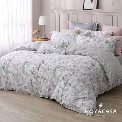 HOYACASA微恬花夏 雙人四件式純棉兩用被床包組(天絲入棉30%)
