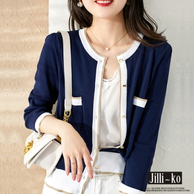 JILLI-KO 時尚氣質配色針織開衫-藍/白