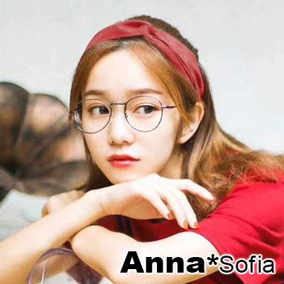 AnnaSofia 光感厚雪紡交叉結 彈性寬髮帶(磚紅系)