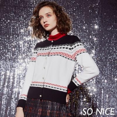 SO NICE時尚幾何北歐風針織外套