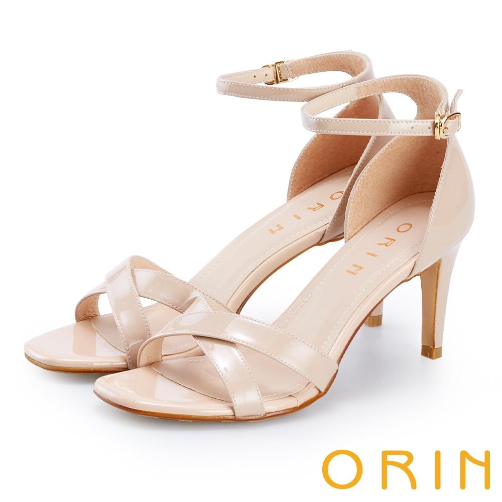 ORIN 交叉牛皮繫踝繞帶後包高跟鞋 裸色