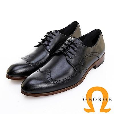 GEORGE 喬治皮鞋 歐風型男 都會時尚素面翼紋德比鞋 -黑