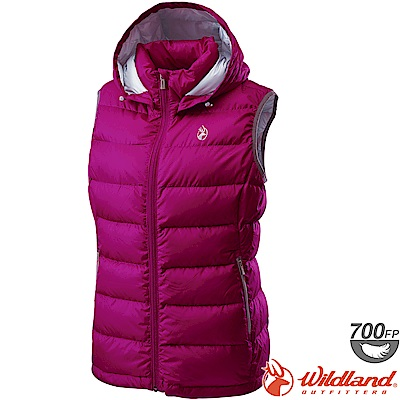 Wildland 荒野 0A62171-32深粉色 女700FP拆帽輕羽絨背心