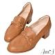 Ann'S學院立體編織麻花粗跟紳士鞋-棕 product thumbnail 1