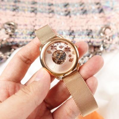 FOSSIL /  Tailor 花卉時尚 機械錶 自動上鍊 鏤空 米蘭編織不鏽鋼手錶-鍍玫瑰金/34mm