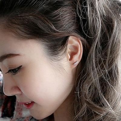 梨花HaNA  韓國925銀細緻鑽石微鑲羽毛之戀耳環