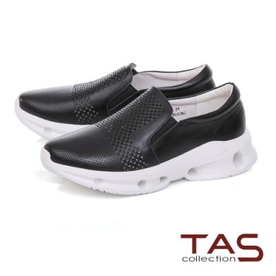 TAS沖孔水鑽牛皮厚底休閒鞋-時尚黑