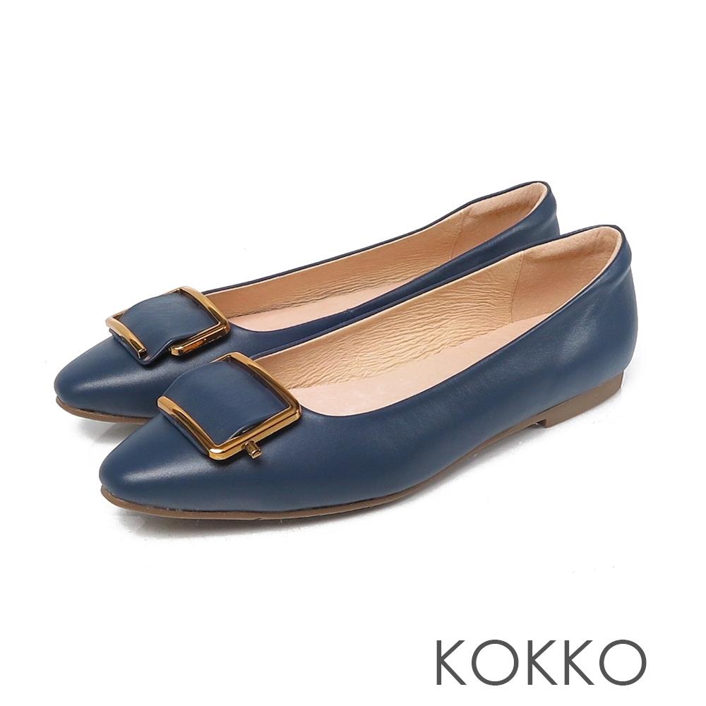 KOKKO 超彈素面方頭真皮平底鞋 經典藍