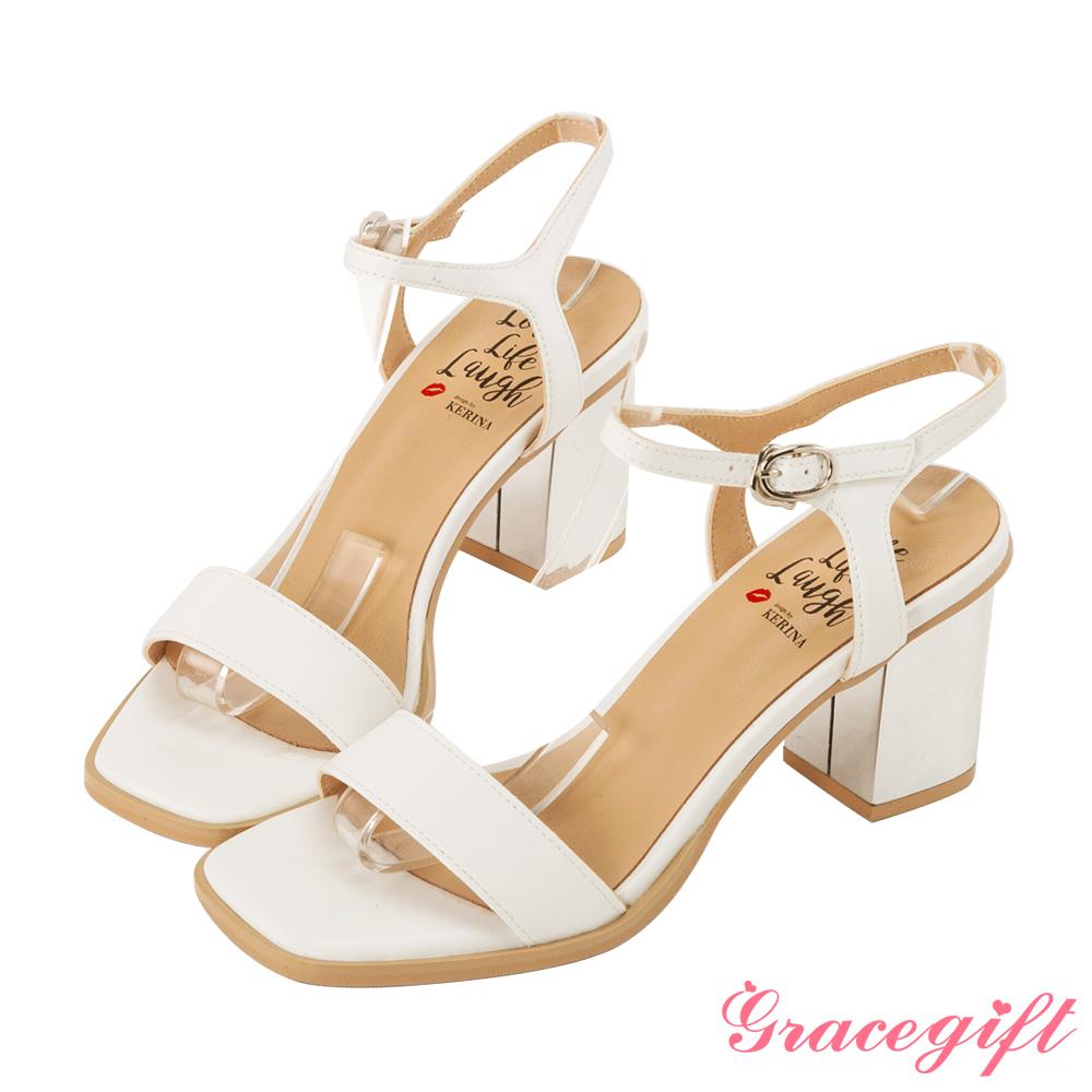 Grace gift X Kerina -聯名一字繫帶方頭高跟涼鞋 白