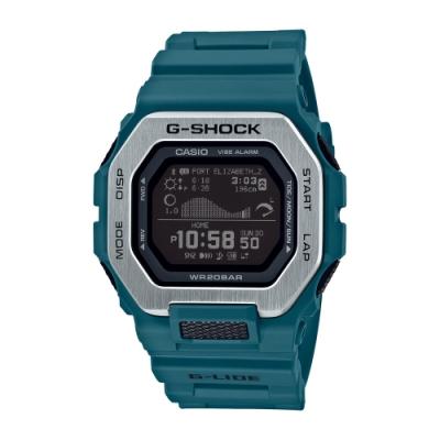CASIO卡西歐 G-SHOCK 藍牙 雙重材質錶圈 衝浪運動 GBX-100-2_46mm