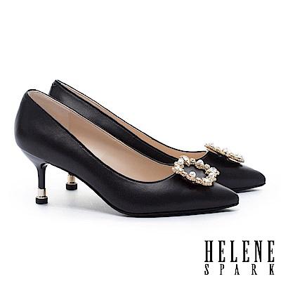 高跟鞋 HELENE SPARK 優雅奢華晶鑽珍珠方釦羊皮尖頭高跟鞋-黑