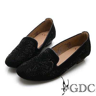 GDC-煙火綻放水鑽舒適平底包鞋-黑色