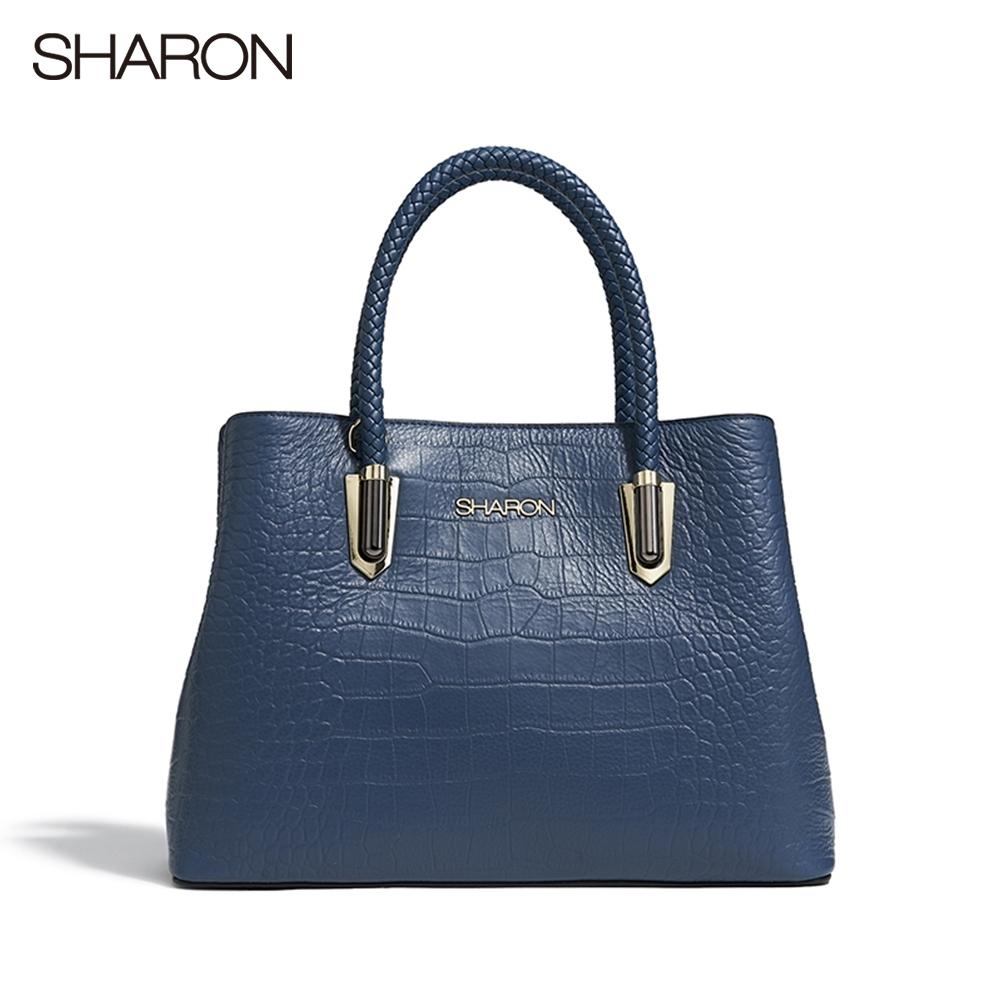 【SHARON 雪恩】頭層牛皮Elizabeth皮編鱷紋醫生包(藍色42053BR)