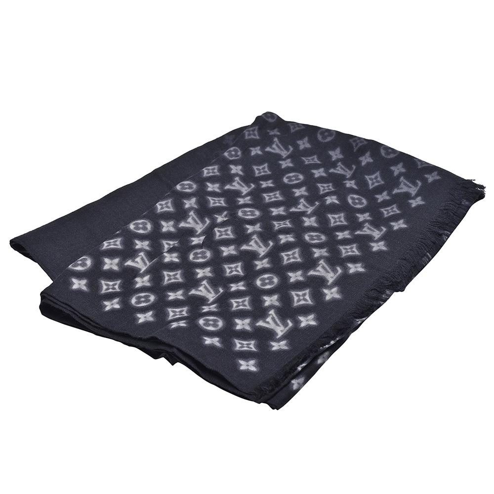 LV M73743經典Monogram花紋羊毛混絲披肩/圍巾(黑色)