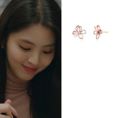 梨花HaNA  韓國925銀夫妻的世界韓素希鏤空花朵耳環