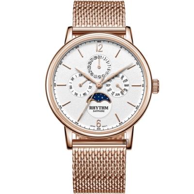 RHYTHM 日本麗聲 都會時尚日月相日期手錶-42mm FI1608S04