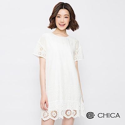 CHICA 復古好感鏤空蕾絲設計洋裝(2色)