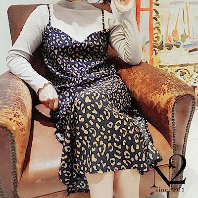 洋裝 正韓豹紋雪紡木耳邊假兩件開衩造型長裙(咖) N2