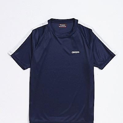 KAPPA義大利 精典型男吸濕排汗短袖衫~丈青 白304P7S0908