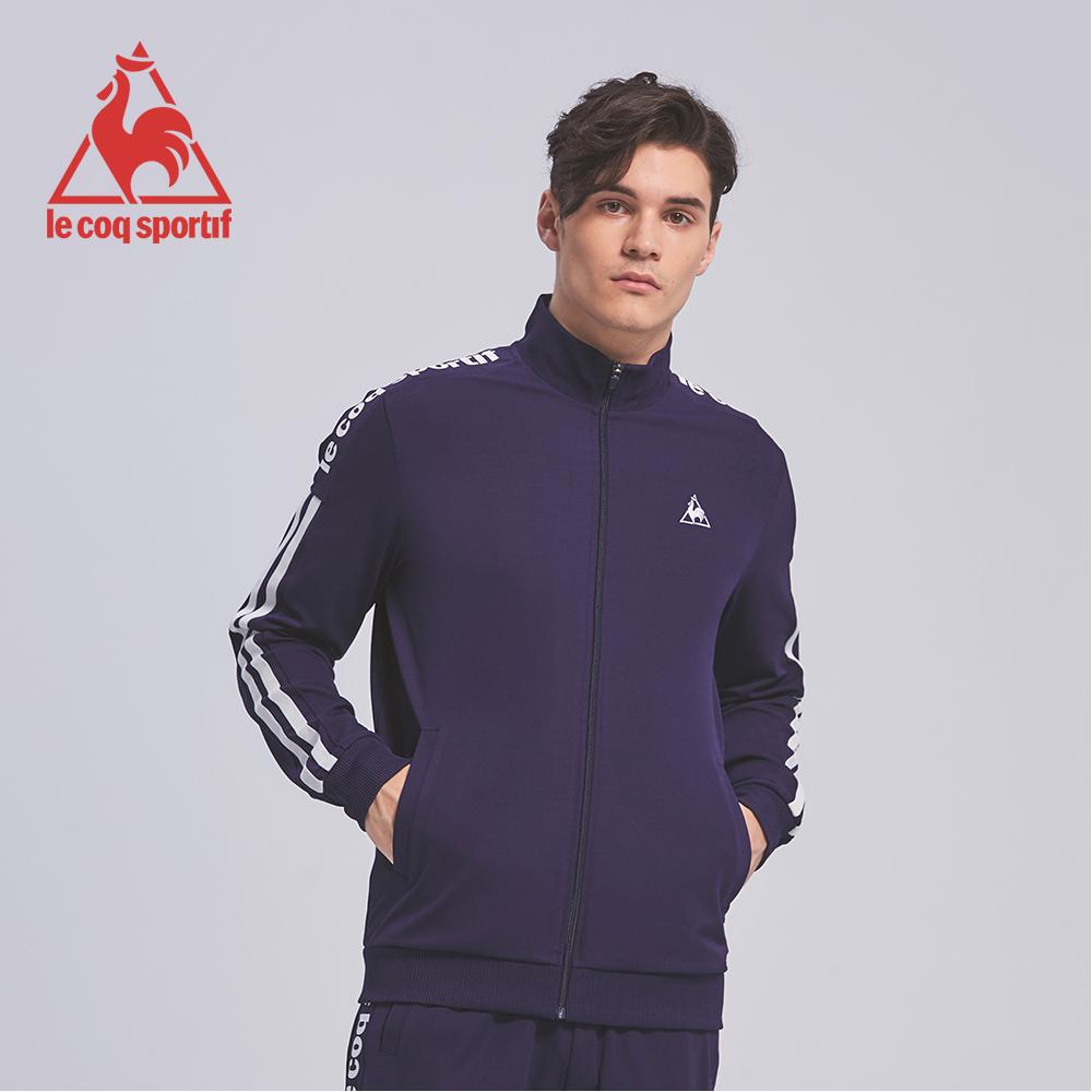 le coq sportif 法國公雞牌彈性吸排肩袖直條紋印花拉鍊外套 男-丈青