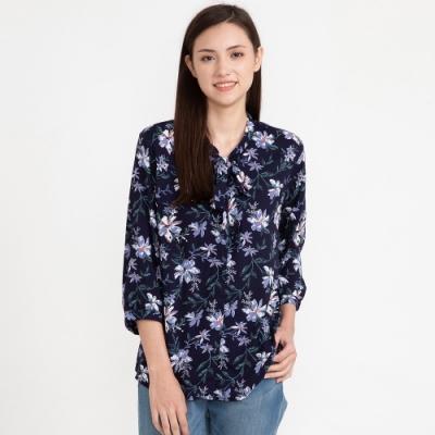 bossini女裝-圖案嫘縈襯衫04海軍藍