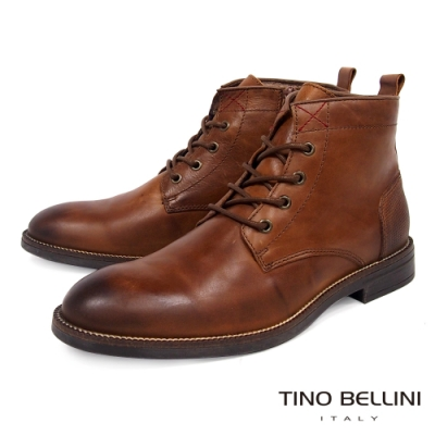 TINO BELLINI 男款葡萄牙進口牛皮原色休閒粗曠工裝靴-駝