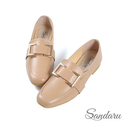 山打努SANDARU-紳士鞋 精緻方釦皮革方頭鞋-駝