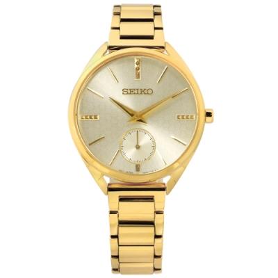 SEIKO 精工 50週年紀念款 獨立秒針視窗 不鏽鋼手錶-鍍金/35mm