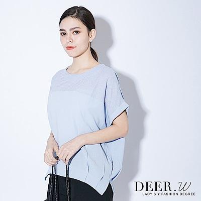 DEER-W-菱形織線連袖上衣-共四色