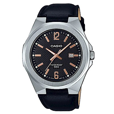 CASIO 現代都會感城市男子時尚皮帶腕錶-黑面(MTP-E158L-1A)/44mm