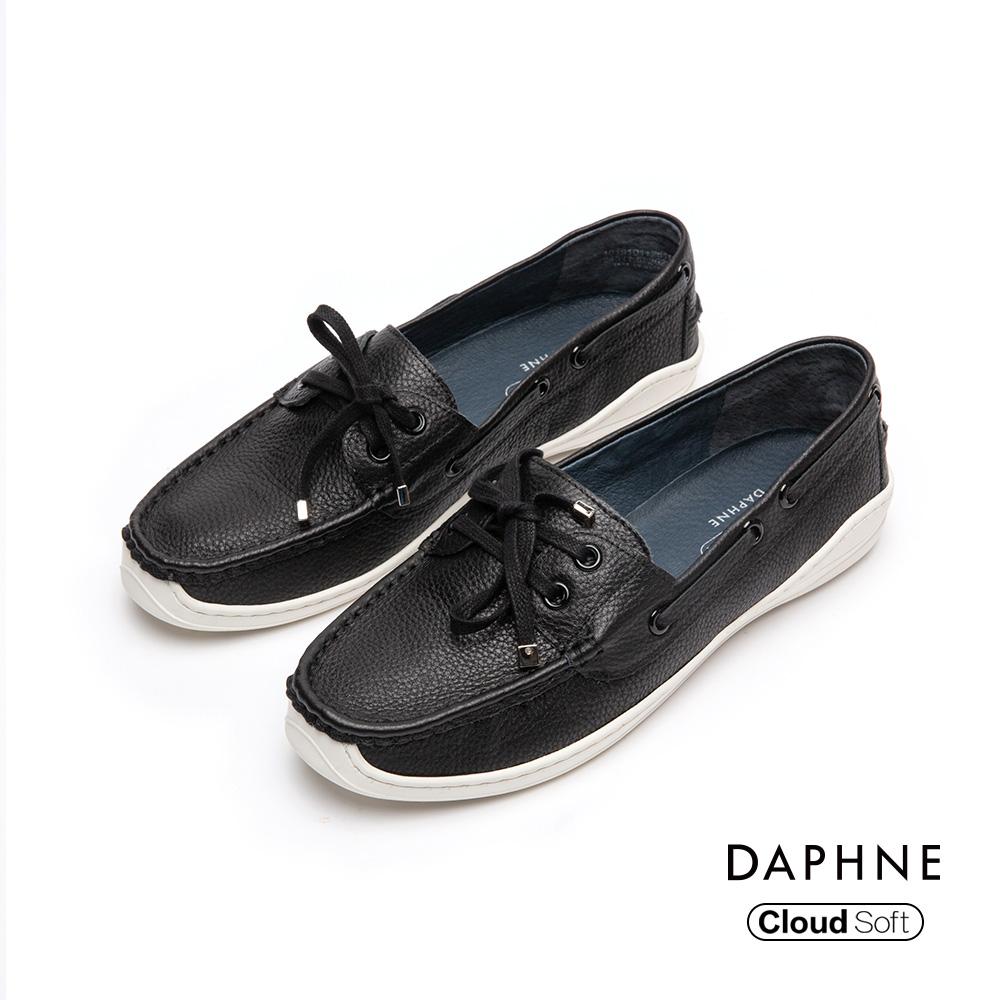 達芙妮DAPHNE 休閒鞋-真皮滾邊綁帶蝴蝶結休閒鞋-黑