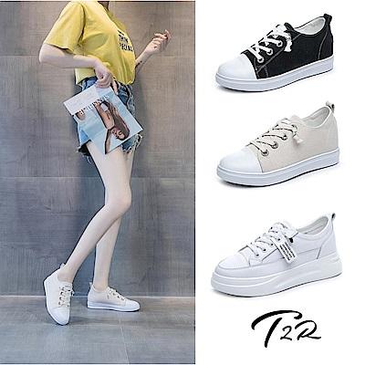時時樂限定-T2R-正韓空運-真皮內增高小白鞋帆布鞋-多款